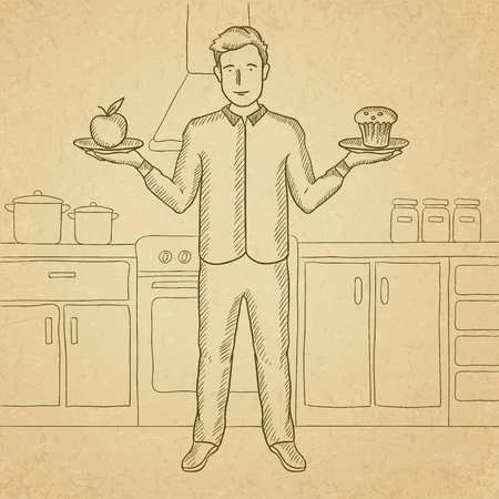old kitchen: A man standing in the kitchen with apple and cake in hands symbolizing choice between healthy and unhealthy food. Hand drawn vector sketch illustration. Old paper vintage background.