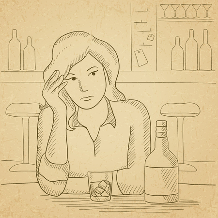 A sad woman sitting at the table with a bottle and a glass at the bar. Hand drawn vector sketch illustration. Old paper vintage background.