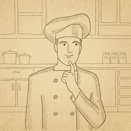 forefinger: A cheerful chief-cooker in uniform standing in the kitchen and pointing forefinger up. Hand drawn vector sketch illustration. Old paper vintage background.