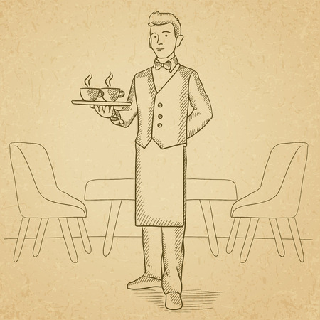 lenght: A waiter holding a tray with cups of tea or coffee at the bar. Hand drawn vector sketch illustration. Old paper vintage background.