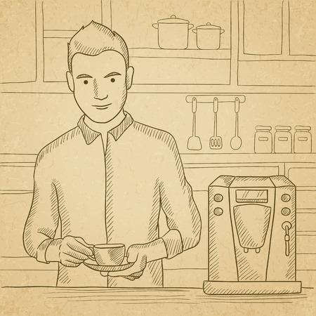 Een man het bereiden van koffie met koffie-automaat in de keuken. Hand getrokken vector schets illustratie. Oud papier vintage achtergrond. Stock Illustratie