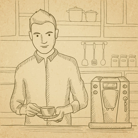 A man preparing coffee with coffee-machine in the kitchen. Hand drawn vector sketch illustration. Old paper vintage background. Illustration
