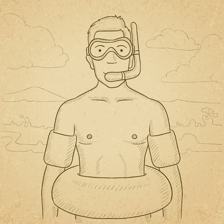paper mask: A man standing in mask, tube and rubber ring on the beach. Hand drawn vector sketch illustration. Old paper vintage background.