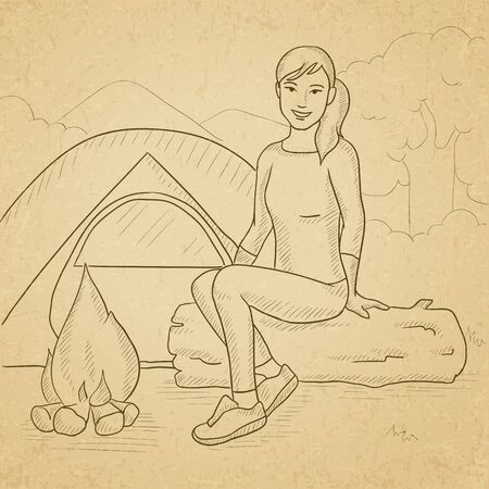 campsite: A woman sitting on a log at campsite. Hand drawn vector sketch illustration. Old paper vintage background.