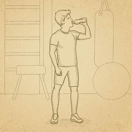 sportive: A sportive man drinking water in the gym. Hand drawn vector sketch illustration. Old paper vintage background.
