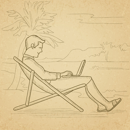 laptop outside: A businessman sitting on the beach in chaise lounge and working on a laptop. Hand drawn vector sketch illustration. Old paper vintage background.