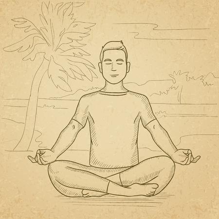 man meditating: A man meditating in lotus pose on the beach. Hand drawn vector sketch illustration. Old paper vintage background. Illustration