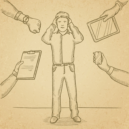 A man in despair surrounded by hands with gadgets, notepad, wrist watch. Hand drawn vector sketch illustration. Old paper vintage background.