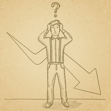 A businessman in despair with a question mark above his head and an arrow going down behind him. Hand drawn vector sketch illustration. Old paper vintage background. Illustration