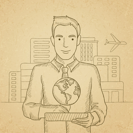 computer model: A man standing with a tablet computer in hands and a model of globe above the device on the background of modern city. Hand drawn vector sketch illustration. Old paper vintage background. Illustration