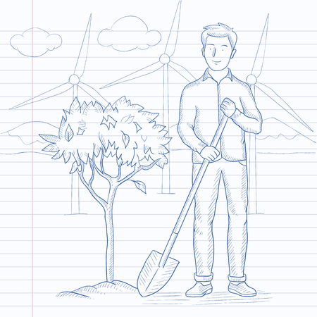 digging: A man with the shovel plants a tree in the park with wind turbines. Hand drawn vector sketch illustration. Notebook paper in line background.