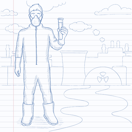 protective: A laboratory assistant in protective chemical suit holding a test-tube in hand in front of nuclear power plant. Hand drawn vector sketch illustration. Notebook paper in line background.