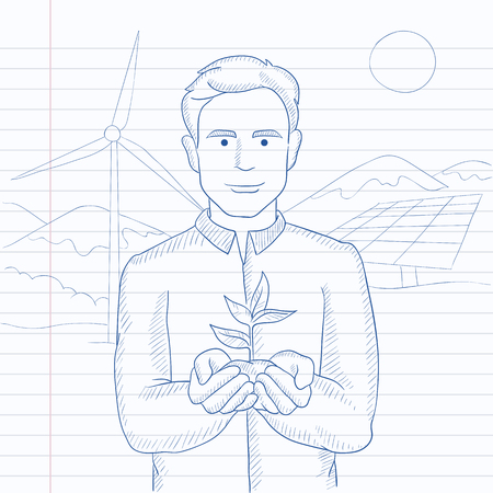 hands holding plant: Man holding in hands a small plant in soil on a background with solar pannels and wind turbins. Hand drawn vector sketch illustration. Notebook paper in line background.