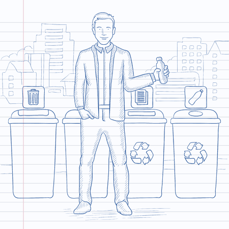 throwing paper: A man standing near four bins and throwing a plastic bottle in an appropriate bin on a city background. Hand drawn vector sketch illustration. Notebook paper in line background.