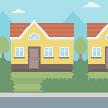 Background of suburban house vector flat design illustration. Square layout. Illusztráció
