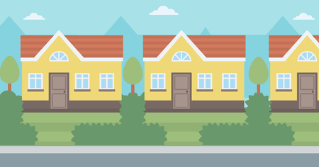 suburban house: Background of suburban house vector flat design illustration. Horizontal layout.