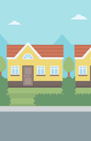 suburban house: Background of suburban house vector flat design illustration. Vertical layout.