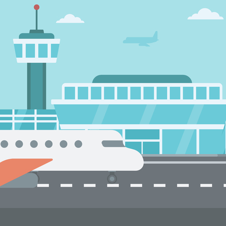 aerodrome: Background of airport with airplane vector flat design illustration. Square layout.