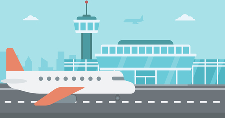 Background of airport with airplane vector flat design illustration. Horizontal layout.