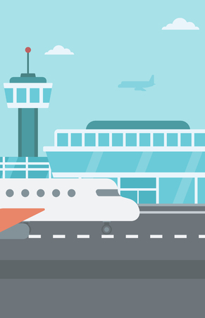 Background of airport with airplane vector flat design illustration. Vertical layout.