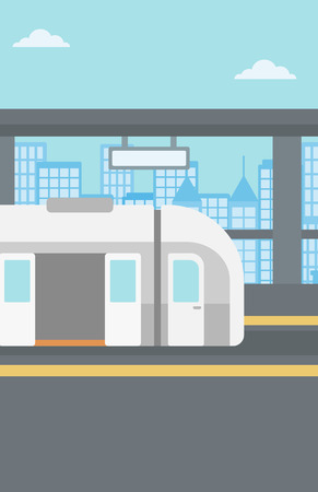 Background of modern train at the station vector flat design illustration. Vertical layout. Illustration