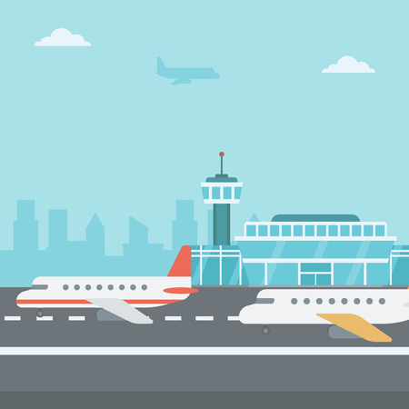 Background of airport with airplanes vector flat design illustration. Square layout.