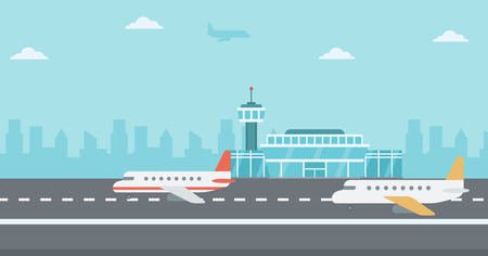 aerodrome: Background of airport with airplanes vector flat design illustration. Horizontal layout.