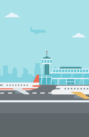 aircraft take off: Background of airport with airplanes vector flat design illustration. Vertical layout.