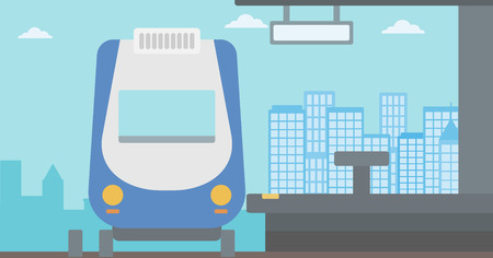 Background of modern train at the station vector flat design illustration. Horizontal layout.