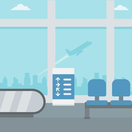 Background of hall at airport vector flat design illustration. Square layout. Ilustração