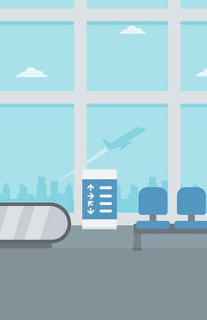 Background of hall at airport vector flat design illustration. Vertical layout.