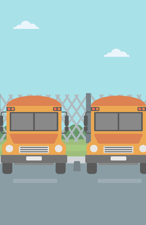 Yellow buses on the background of mesh fence vector flat design illustration. Vertical layout. Ilustracja