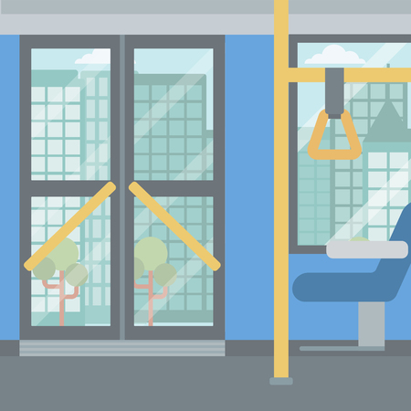 conveyances: Background of modern empty city bus vector flat design illustration. Square layout.