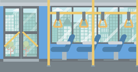 Background of modern empty city bus vector flat design illustration. Horizontal layout. Çizim