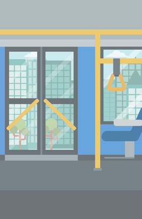 modern interior: Background of modern empty city bus vector flat design illustration. Vertical layout.