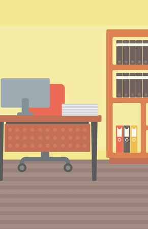 Background of office workplace with computer, table, chair and bookcase vector flat design illustration. Vertical layout.