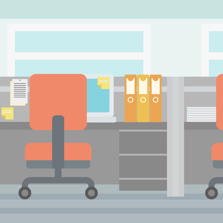 separated: Background of empty workplaces separated by partition  vector flat design illustration. Square layout.
