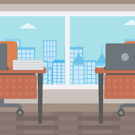 modern interior: Background of panoramic modern office with city view vector flat design illustration. Square layout.