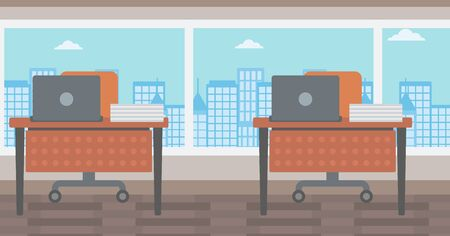 empty office: Background of panoramic modern office with city view vector flat design illustration. Horizontal layout.