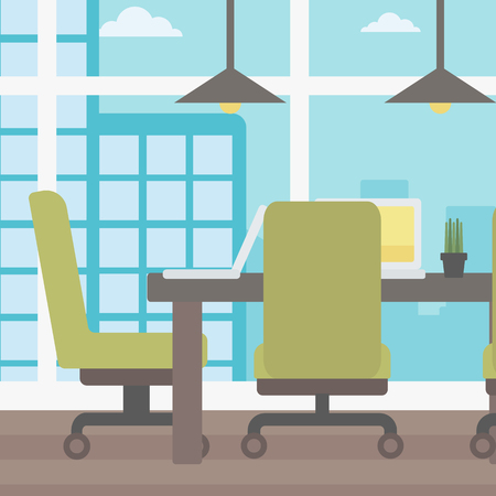 boardroom: Background of conference room in modern office vector flat design illustration. Square layout. Illustration