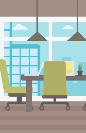 Background of conference room in modern office vector flat design illustration. Vertical layout.