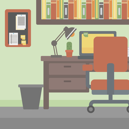 computer table: Background of office workplace with computer, table and chair vector flat design illustration. Square layout.