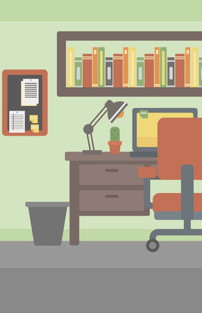 Background of office workplace with computer, table and chair vector flat design illustration. Vertical layout.