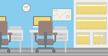 Background of office workplace with computer, table, chair and bookcase vector flat design illustration. Horizontal layout.