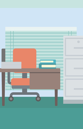 Background of office workplace vector flat design illustration. Vertical layout.