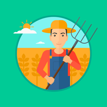 hayfork: A farmer standing with a pitchfork in wheat field. Vector flat design illustration in the circle isolated on green background.
