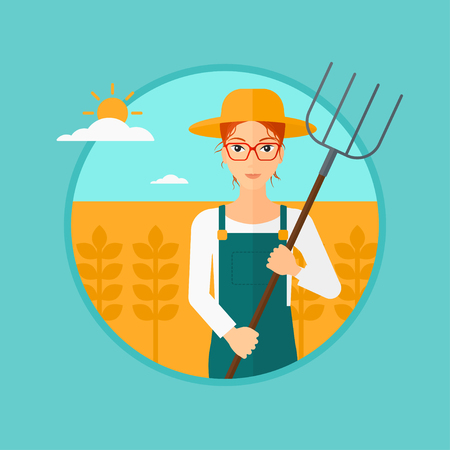 hayfork: A farmer standing with a pitchfork in wheat field. Vector flat design illustration in the circle on light blue background. Illustration