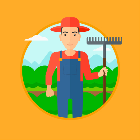 agrarian: A farmer standing with a rake at cabbage field. Vector flat design illustration in the circle isolated on orange background.