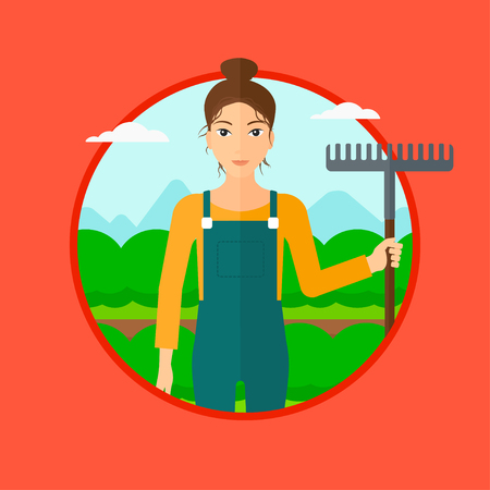 agrarian: A farmer standing with a rake at cabbage field. Vector flat design illustration in the circle isolated on red background. Illustration