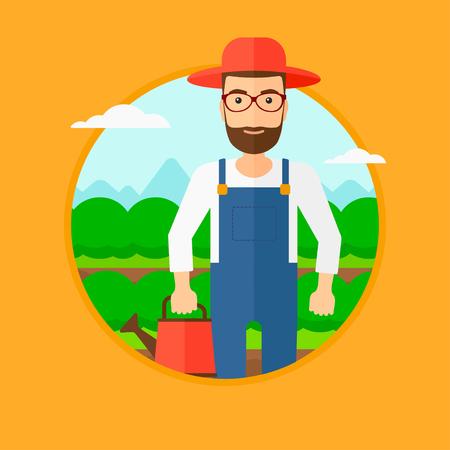 キャベツ畑の水まき缶を保持しているひげと流行に敏感な男。オレンジ色の背景に分離されたサークルでベクトル フラットなデザイン イラスト。